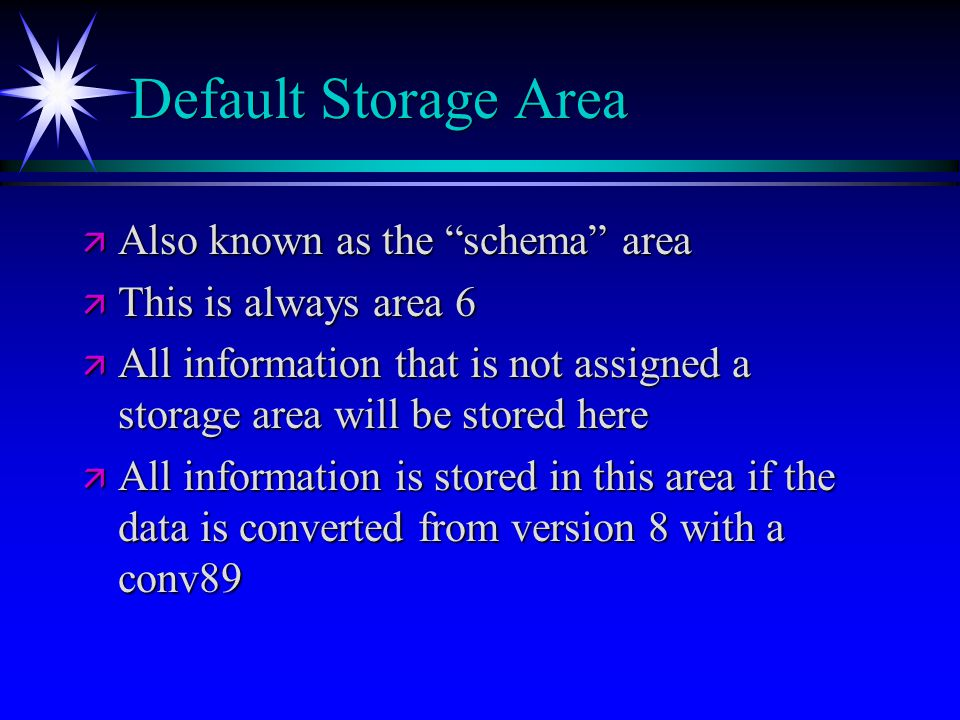 Default Storage Area Also known as the schema area
