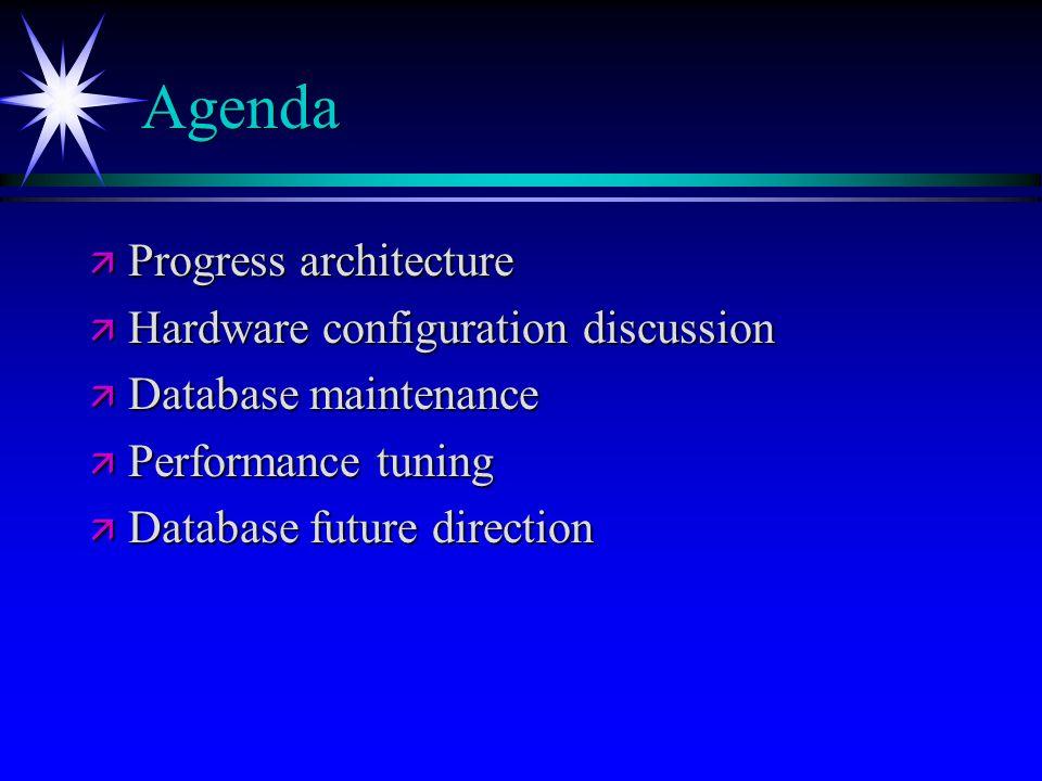 Agenda Progress architecture Hardware configuration discussion