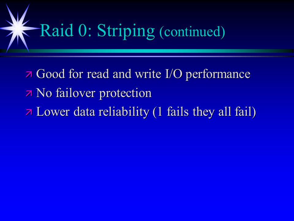 Raid 0: Striping (continued)