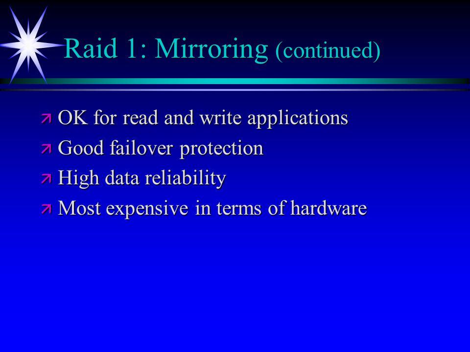 Raid 1: Mirroring (continued)