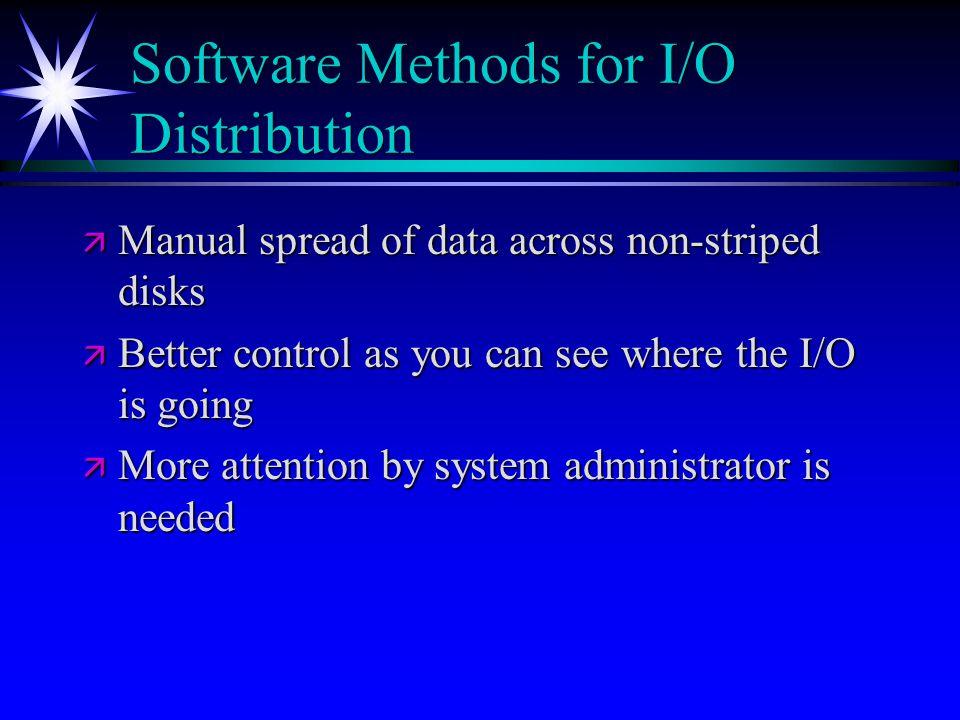Software Methods for I/O Distribution