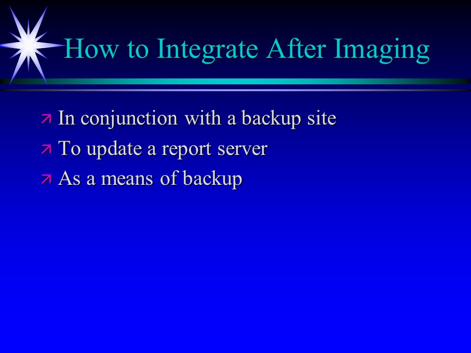 How to Integrate After Imaging