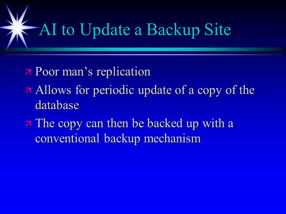 AI to Update a Backup Site