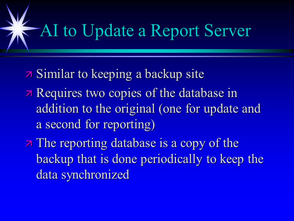 AI to Update a Report Server