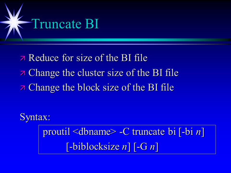 Truncate BI Reduce for size of the BI file