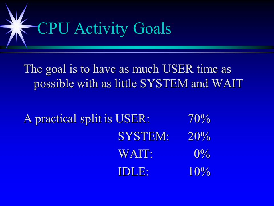 CPU Activity Goals The goal is to have as much USER time as possible with as little SYSTEM and WAIT.