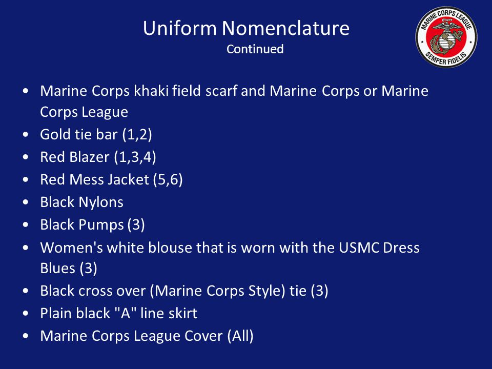 Uniform Nomenclature Continued