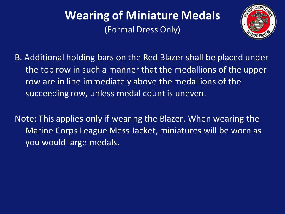 Wearing of Miniature Medals (Formal Dress Only)