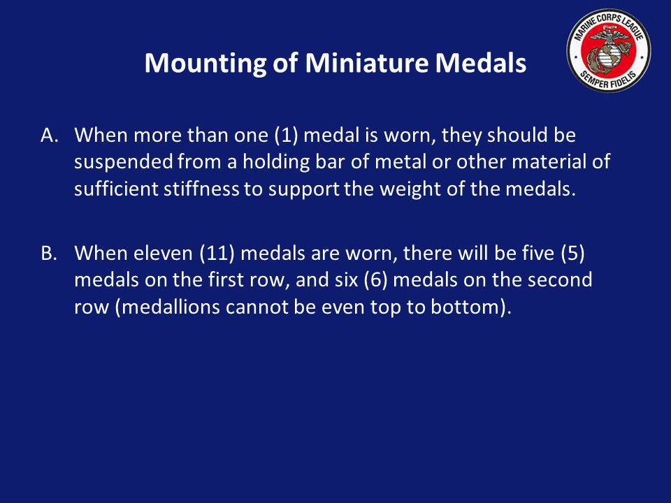 Mounting of Miniature Medals