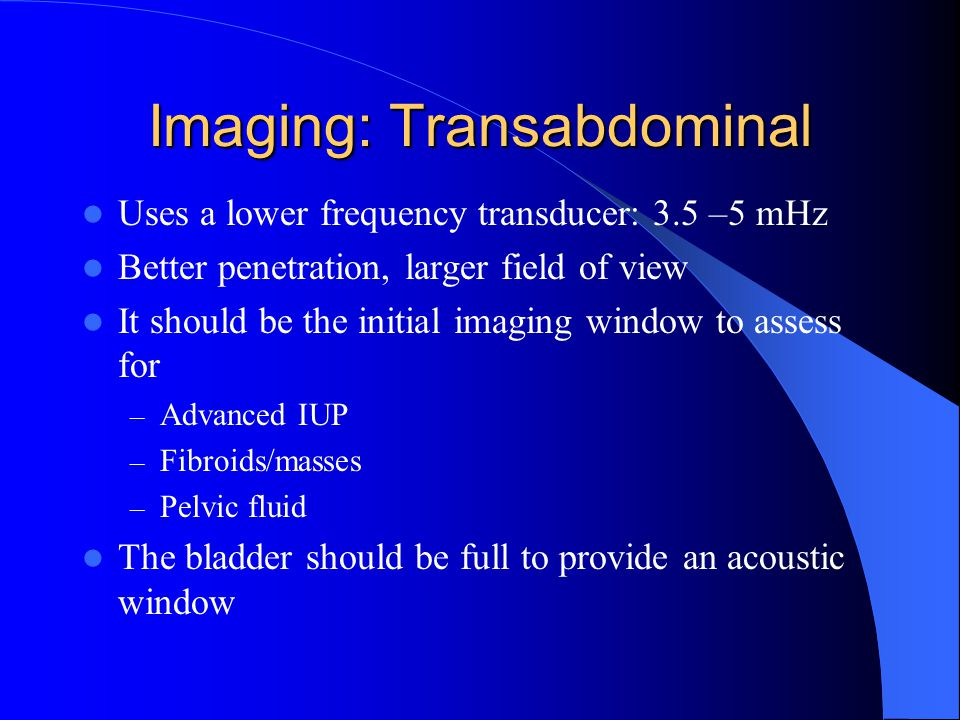 Imaging: Transabdominal