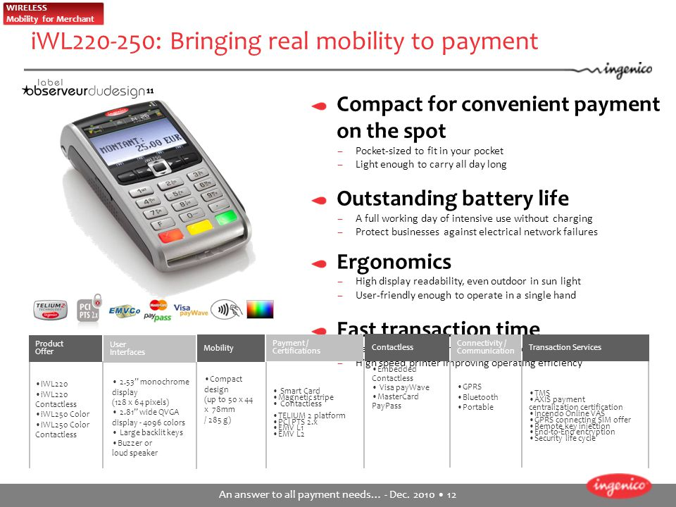 iWL220-250: Bringing real mobility to payment