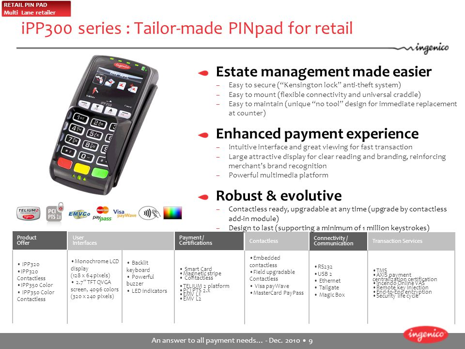 iPP300 series : Tailor-made PINpad for retail