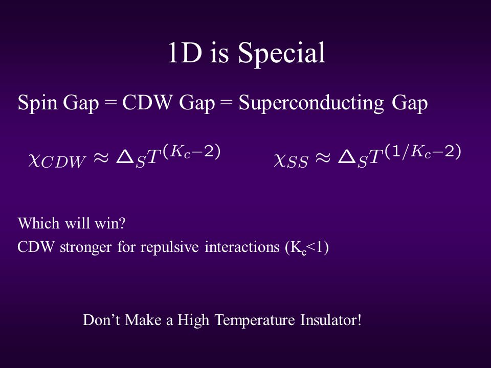 1D is Special Spin Gap = CDW Gap = Superconducting Gap Which will win