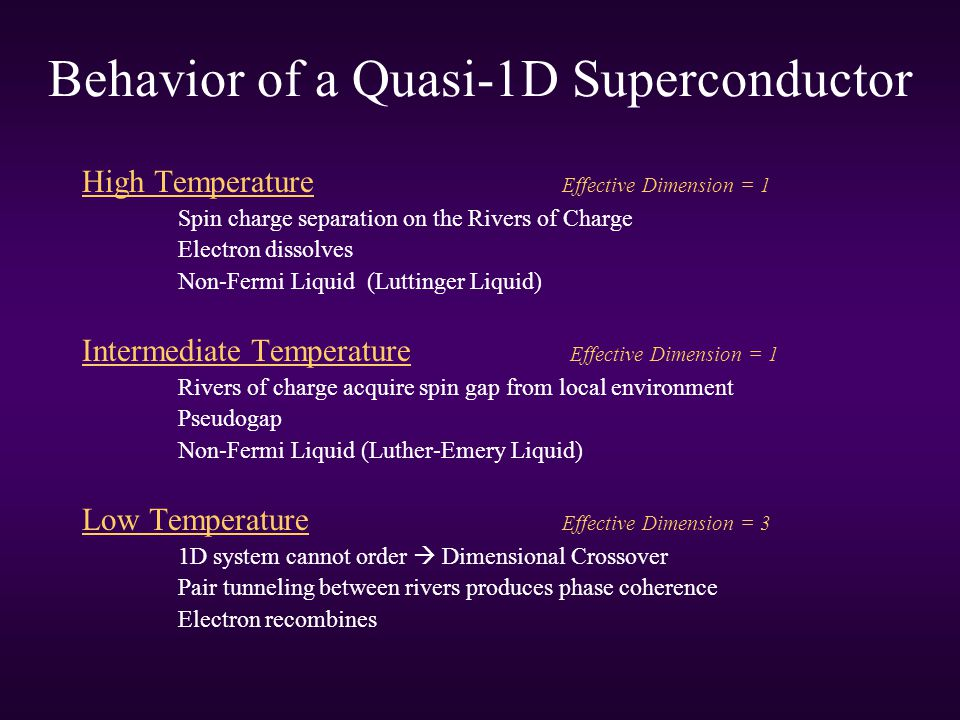 Behavior of a Quasi-1D Superconductor