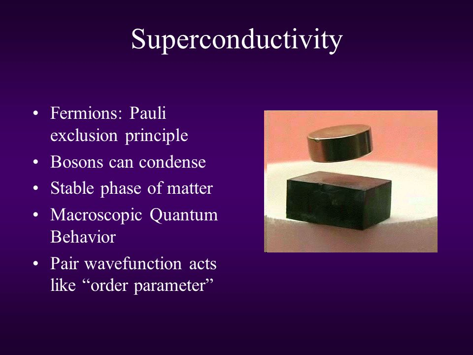 Superconductivity Fermions: Pauli exclusion principle