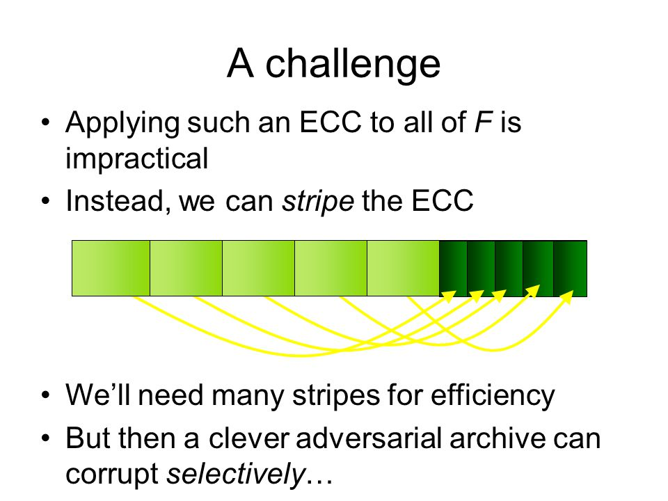 A challenge Applying such an ECC to all of F is impractical