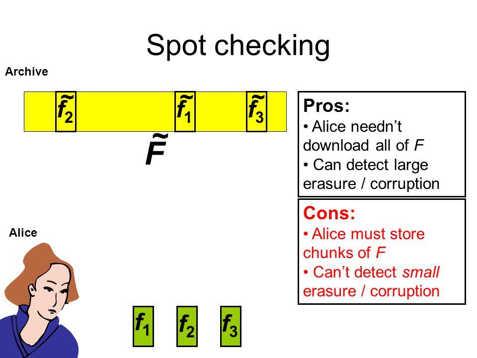 F Spot checking ~ ~ f1 ~ ~ f2 f3 f1 f2 f3 Pros: Cons: