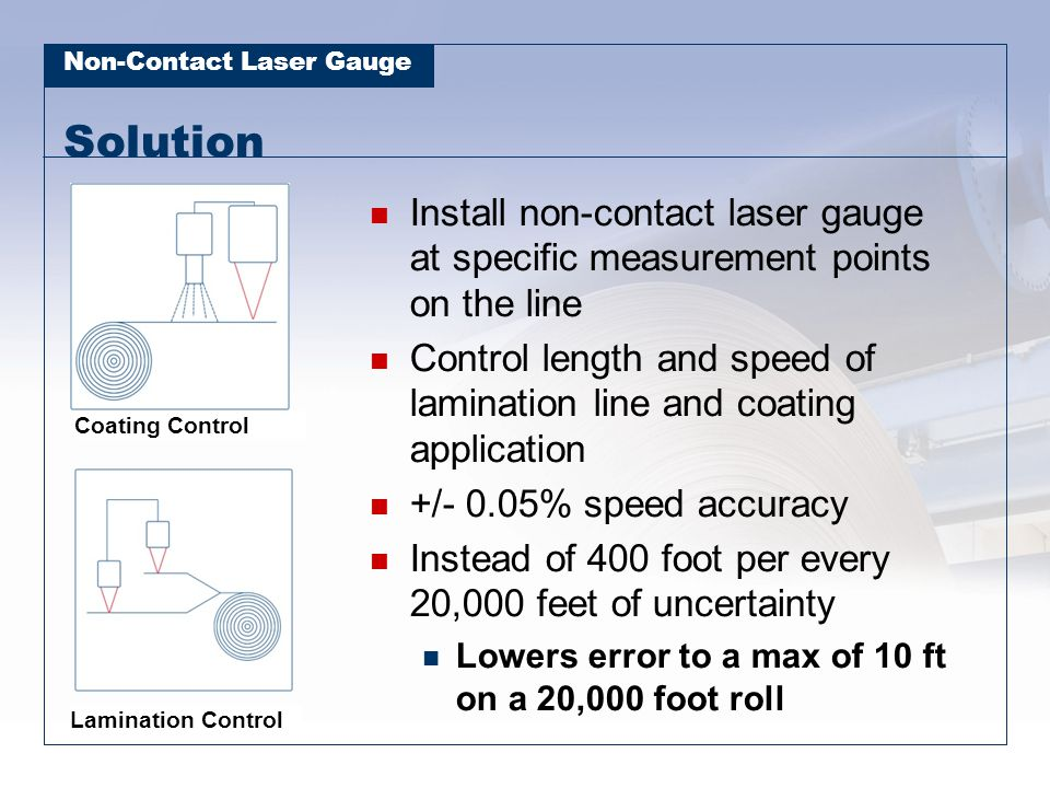 Solution Install non-contact laser gauge at specific measurement points on the line.