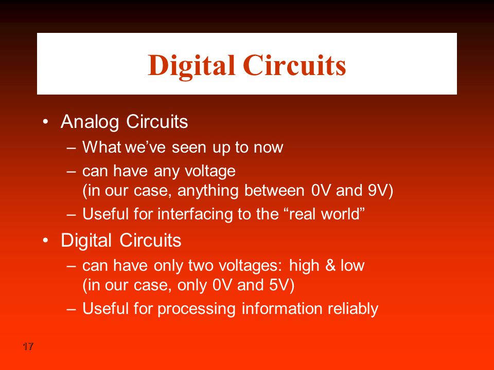 Digital Circuits Analog Circuits Digital Circuits