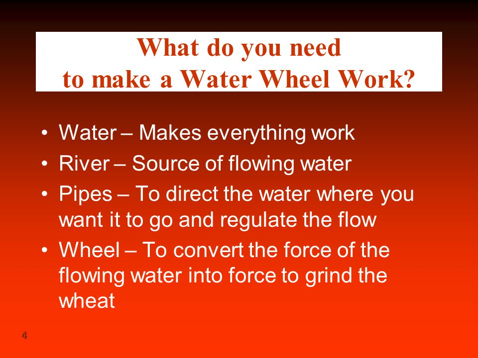 What do you need to make a Water Wheel Work