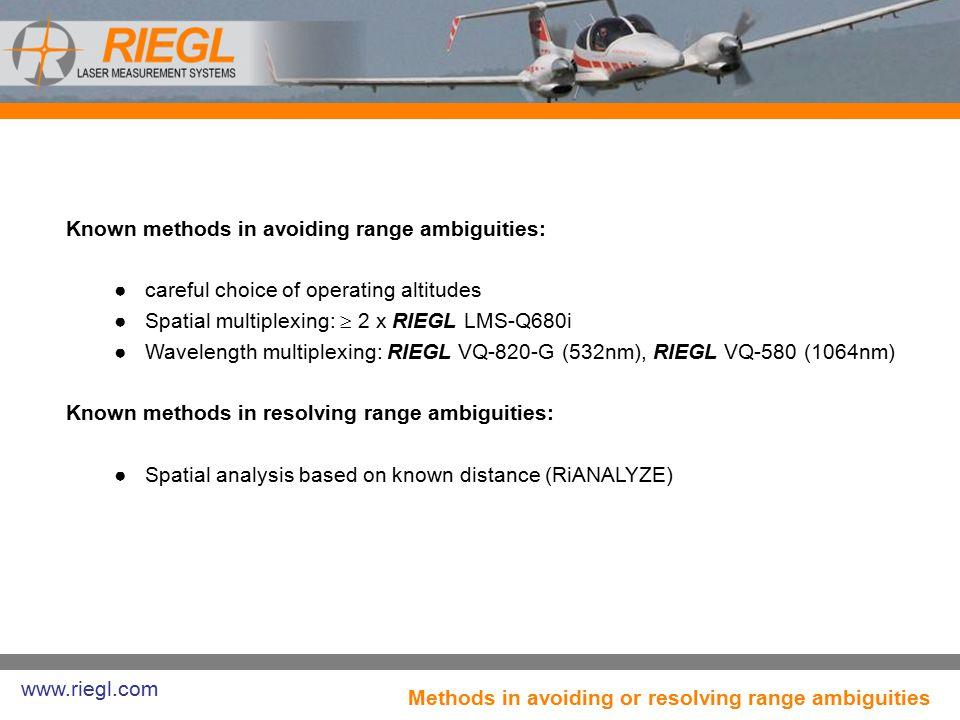 Known methods in avoiding range ambiguities: