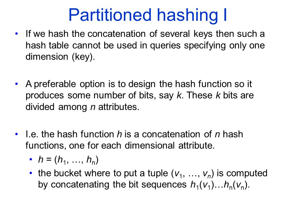 COMP 451/651 Partitioned hashing I.