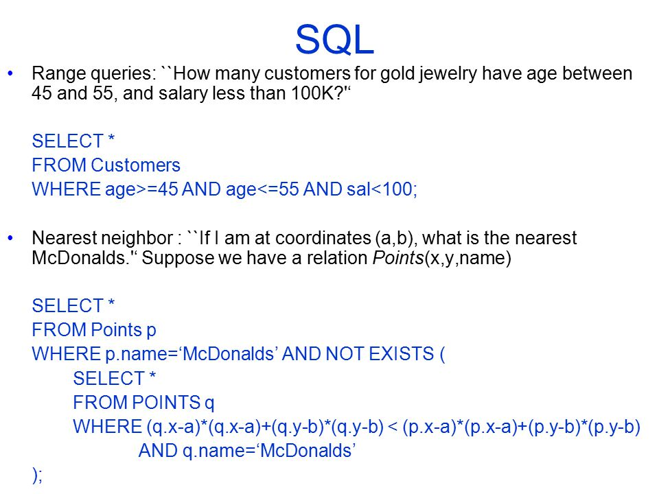 COMP 451/651 SQL. Range queries: ``How many customers for gold jewelry have age between 45 and 55, and salary less than 100K '