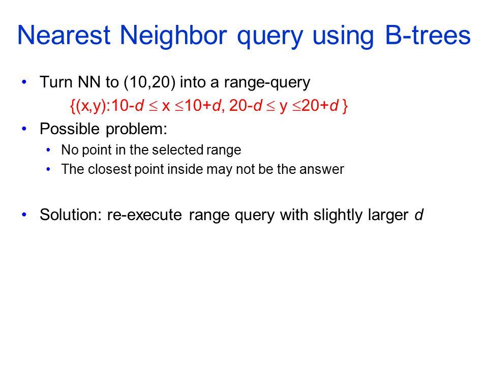 Nearest Neighbor query using B-trees