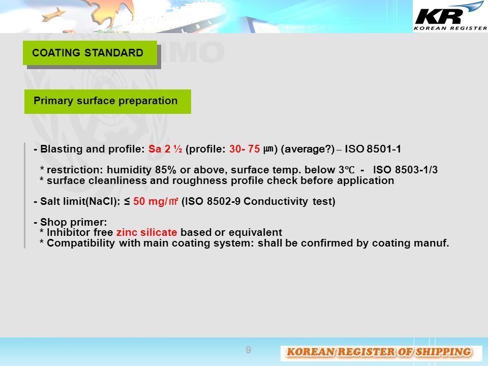 COATING STANDARD Primary surface preparation. - Blasting and profile: Sa 2 ½ (profile: 30- 75 ㎛) (average ) – ISO 8501-1.