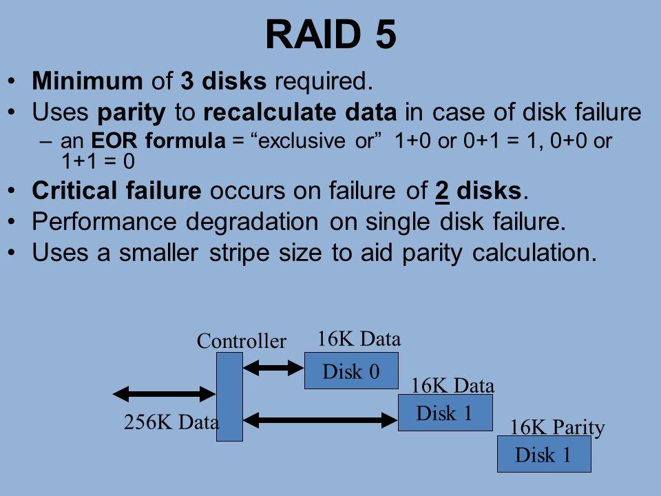 RAID 5 Minimum of 3 disks required.