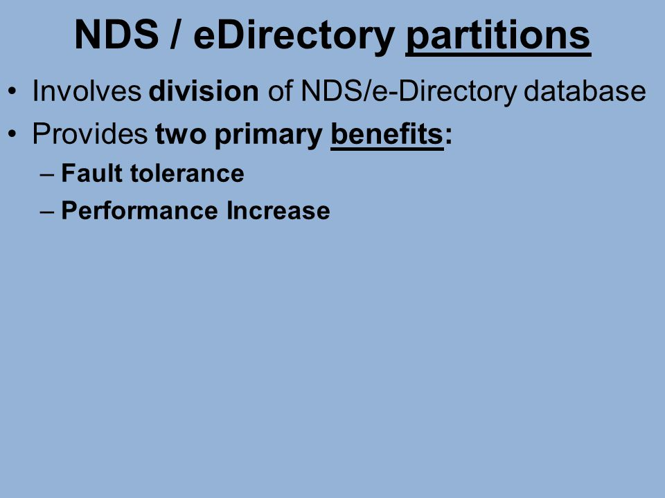 NDS / eDirectory partitions