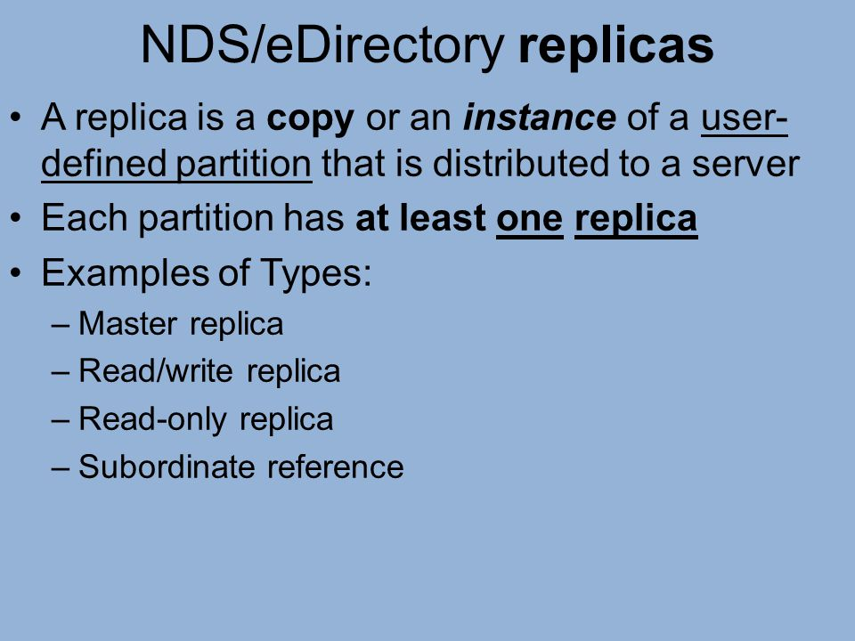 NDS/eDirectory replicas