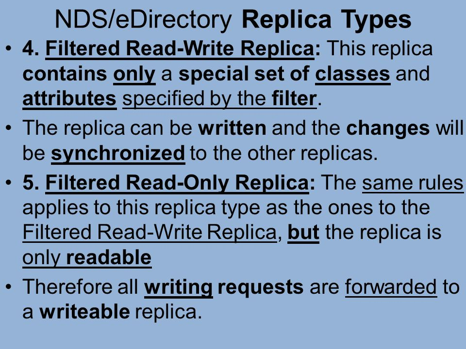 NDS/eDirectory Replica Types