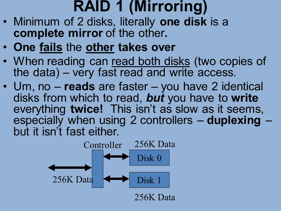 RAID 1 (Mirroring) Minimum of 2 disks, literally one disk is a complete mirror of the other. One fails the other takes over.
