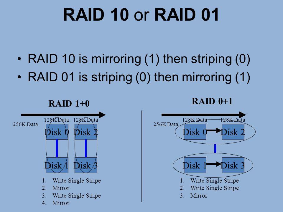 RAID 10 or RAID 01 RAID 10 is mirroring (1) then striping (0)