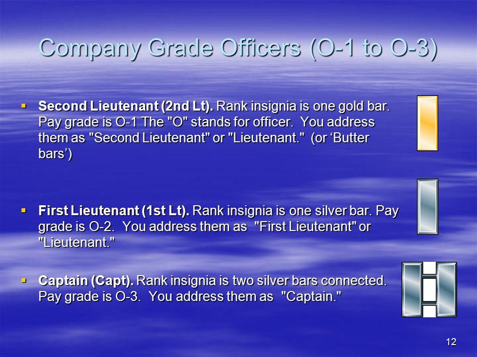Company Grade Officers (O-1 to O-3)