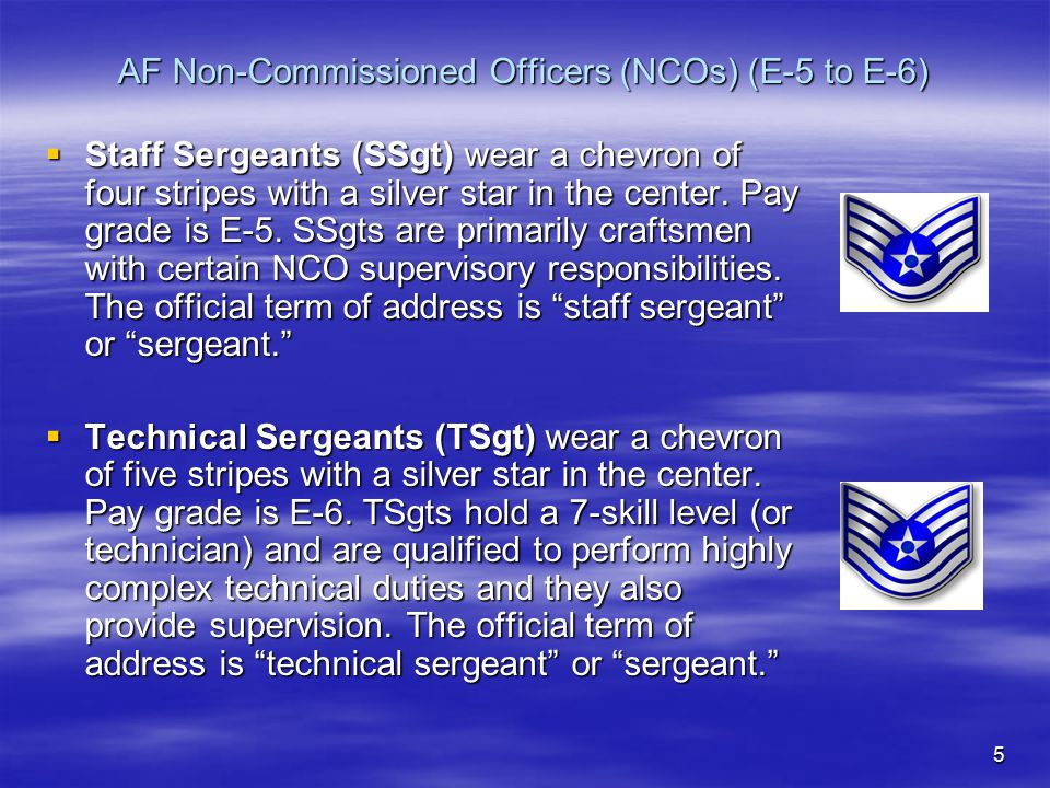 AF Non-Commissioned Officers (NCOs) (E-5 to E-6)