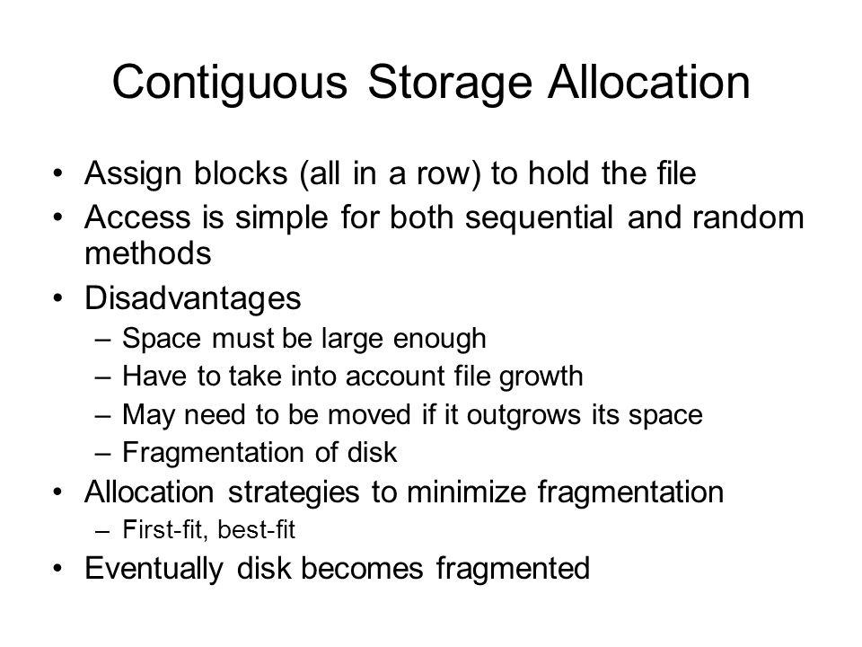 Contiguous Storage Allocation