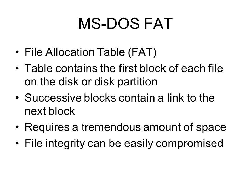 MS-DOS FAT File Allocation Table (FAT)