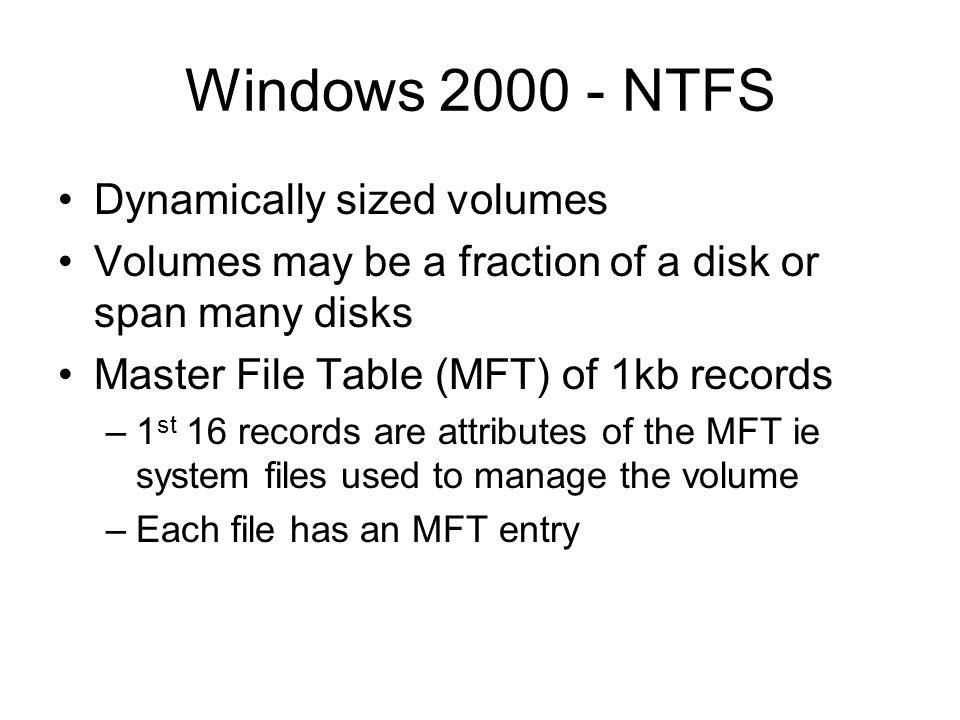 Windows 2000 - NTFS Dynamically sized volumes