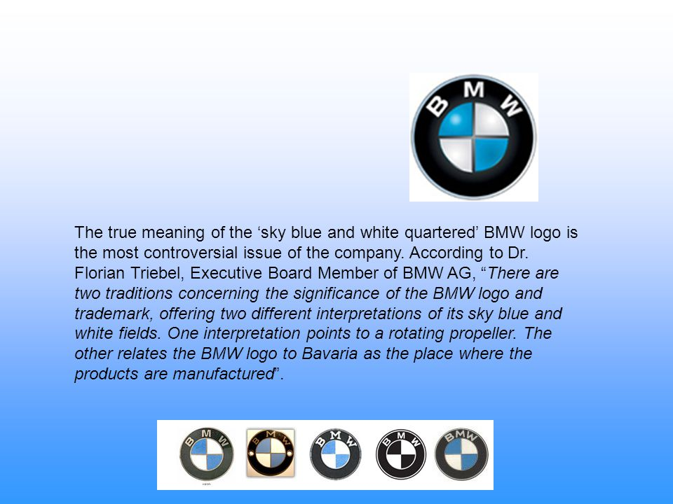 The true meaning of the 'sky blue and white quartered' BMW logo is the most controversial issue of the company.