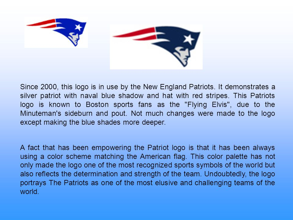 Since 2000, this logo is in use by the New England Patriots