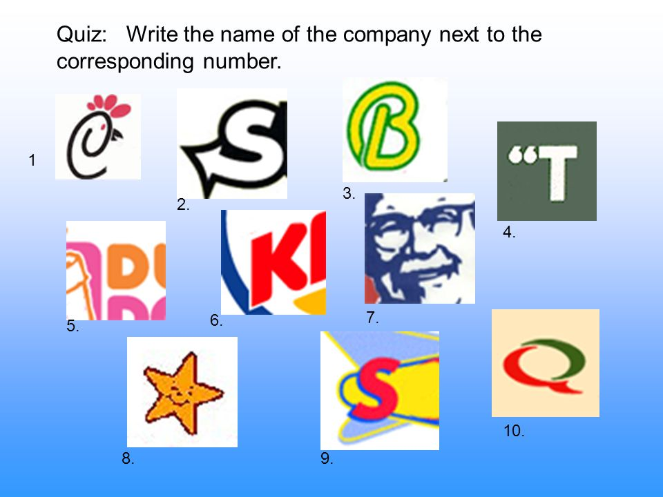 Quiz: Write the name of the company next to the corresponding number.
