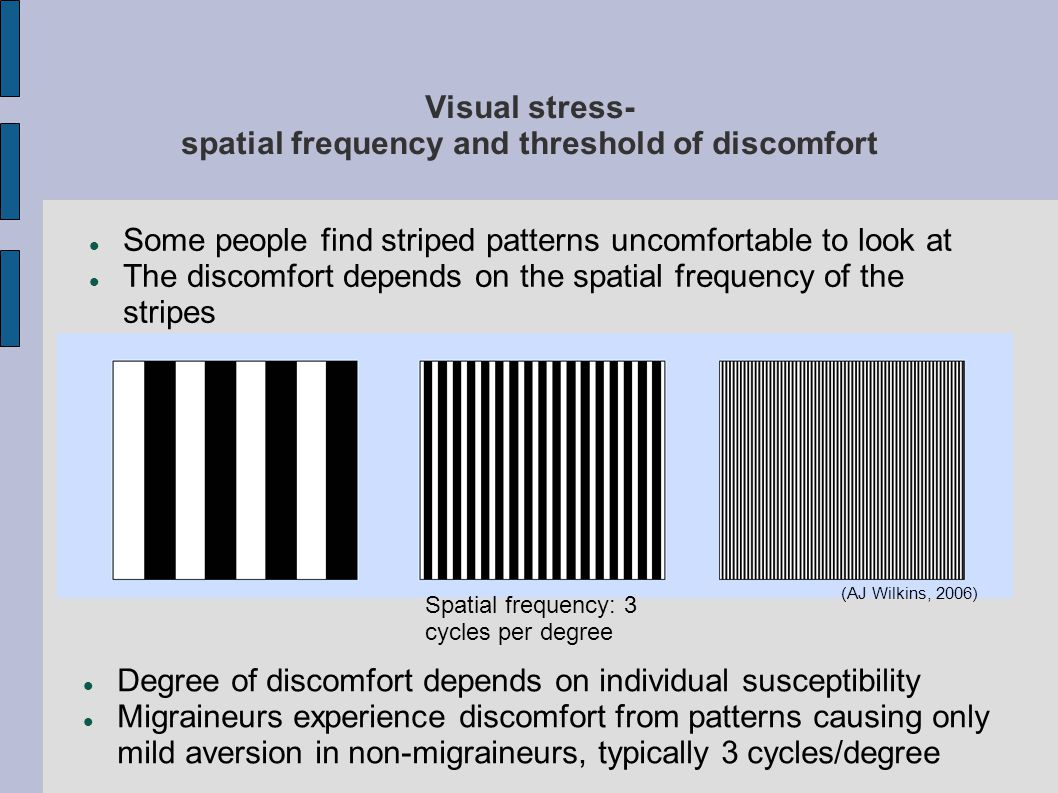 Visual stress- spatial frequency and threshold of discomfort