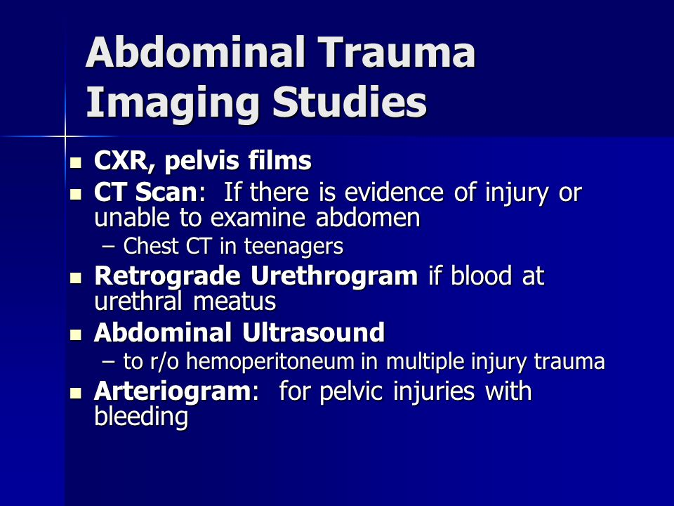 Abdominal Trauma Imaging Studies