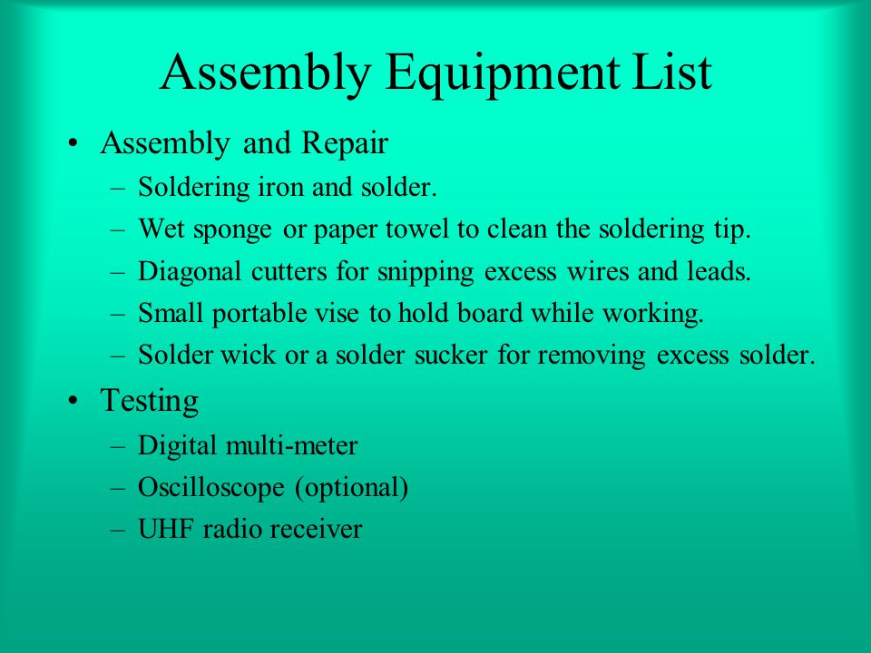 Assembly Equipment List