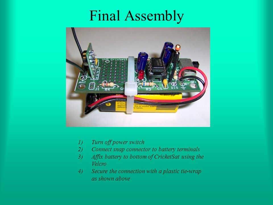 Final Assembly Turn off power switch
