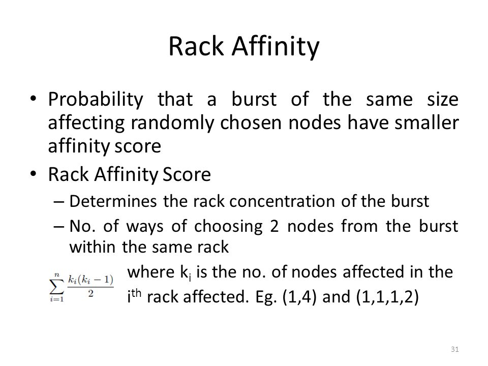 Rack Affinity Probability that a burst of the same size affecting randomly chosen nodes have smaller affinity score.