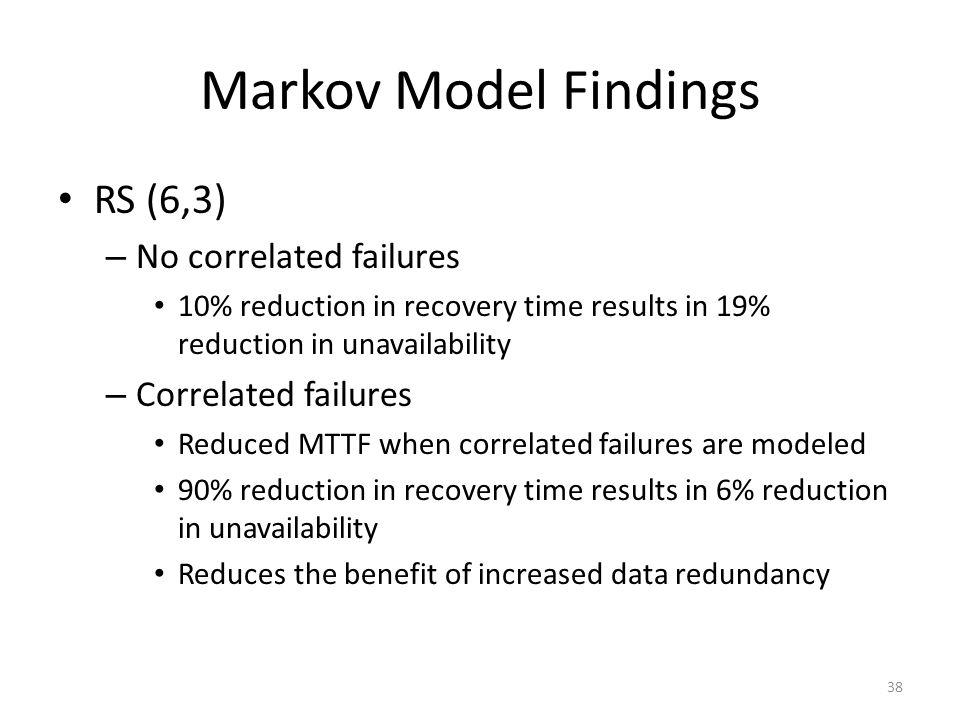 Markov Model Findings RS (6,3) No correlated failures