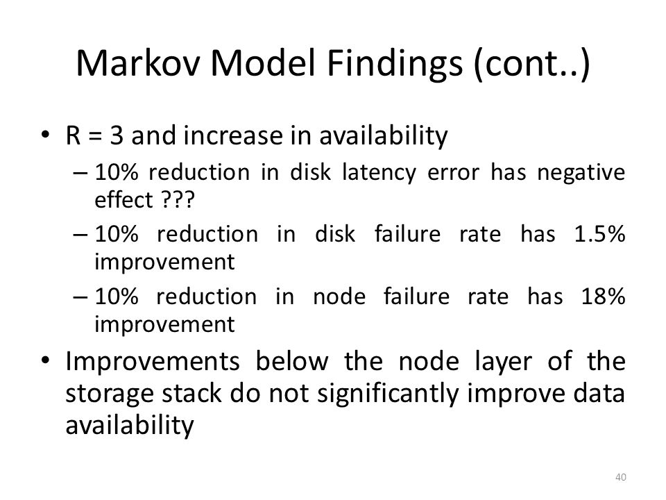 Markov Model Findings (cont..)